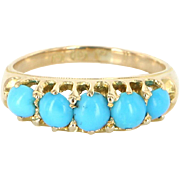Vintage Deco Turquoise 18 Karat Gold Ring Band Vintage Fine Jewelry Heirloom Old