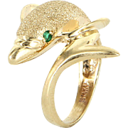 Dolphin Ring 14 Karat Yellow Gold Emerald Vintage Fine Jewelry Estate Marine 5.25