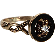 Antique Victorian Diamond Onyx 10 Karat Rose Gold Ring Vintage Pre Owned Old Jewelry