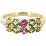 Vintage Peridot Citrine Pink Topaz Diamond Stack Ring 14 Karat Gold Estate Fine Jewelry 7.25