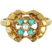 Vintage Turquoise Seed Pearl 9 Karat Yellow Gold Ring Estate Fine Jewelry Sz 6