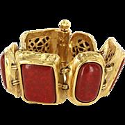 Vintage YSL Yves Saint Laurent Faux Coral Yellow Gold Tone Bracelet