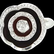 Movable Flower Diamond Enamel Vintage Cocktail Ring 18 Karat White Gold Jewelry