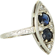 Vintage Art Deco Sapphire Diamond Navette 14 Karat White Gold Ring Vintage Fine Jewelry 7