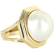 Tiffany & Co Mabe Pearl 18 Karat Yellow Gold Vintage Cocktail Ring Estate Jewelry 5