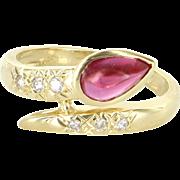 Pink Tourmaline Diamond Snake Ring Vintage 18 Karat Yellow Gold Estate Jewelry 7.5