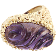 Carved Amethyst Nugget Cocktail Ring 14 Karat Yellow Gold Estate Fine Jewelry