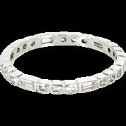 Vintage Art Deco Eternity Stack Ring 5.25 900 Platinum Diamond Vintage Estate Jewelry