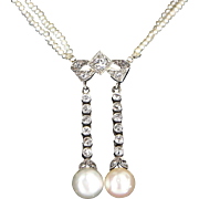 Vintage Art Deco Seed Pearl Diamond Drop Necklace 14 Karat Gold Vintage Fine Jewelry