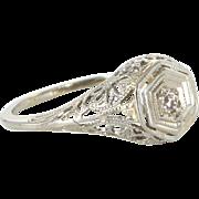 Vintage Art Deco Filigree Mine Diamond Ring 14 Karat White Gold Estate Fine Jewelry 4