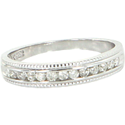 Half Diamond Stack Band Ring 10k White Gold Vintage Estate Jewelry Sz 5 1/2 5.5