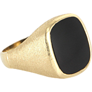Mens Onyx 14 Karat Yellow Gold Vintage Satin Finish Signet Ring Estate Fine Jewelry