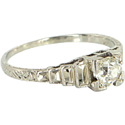 Vintage Art Deco Mine Diamond Engagement Ring 18k White Gold Estate Jewelry 6