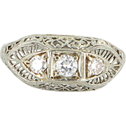 Vintage Deco Diamond Three Stone Filigree Ring 18 Karat White Gold Estate Fine