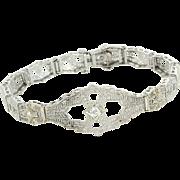 Vintage Art Deco Diamond Rock Crystal Filigree Bracelet Estate Fine Jewelry