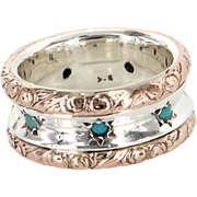 Turquoise Vintage Embossed Eternity Ring 10 Karat Rose Gold 925 Sterling Silver Sz 8 Estate ..