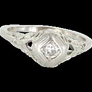Vintage Art Deco Diamond Filigree Ring 14 Karat White Gold Estate Fine Jewelry 8