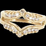 Diamond Wedding Ring Guard Wrap 14 Karat Yellow Gold Estate Fine Jewelry Sz 6.5