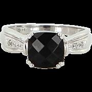 Onyx Diamond Square Vintage Cocktail Ring 10k White Gold Estate Fine Jewelry