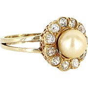 Antique Victorian Daisy Ring Mine Diamond Cultured Pearl 14k Gold Vintage Fine