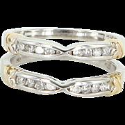 Diamond Wedding Ring Guard Wrap Vintage 14 Karat White Gold Estate Bridal 6.25