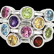 Sonia B Gemstone Flex Ring 14 Karat White Gold Estate Fine Jewelry Sz 10 1/4