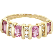 Pink Sapphire Diamond Vintage Band Ring 14 Karat Yellow Gold Estate Fine Jewelry 6