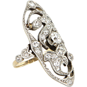 Vintage Art Deco Diamond 900 Platinum 14 Karat Gold Cocktail Ring Estate Fine Jewelry Sz 5