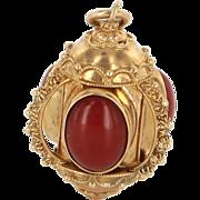 Mediterranean Red Coral Vintage 18 Karat Gold Fob Charm Estate Fine Jewelry