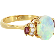 Opal Ruby Diamond Cocktail Ring Vintage 18 Karat Yellow Gold Estate Fine Jewelry