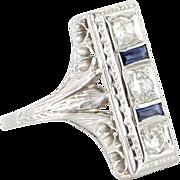 Vintage Art Deco Diamond Sapphire 18 Karat White Gold Cocktail Ring Estate Jewelry Fine