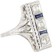 Vintage Art Deco Diamond Sapphire 18 Karat White Gold Cocktail Ring Estate Jewelry Fine