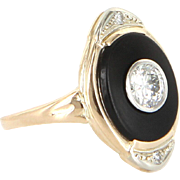 Vintage Art Deco Diamond Onyx Navette Ring 14 Karat Gold Estate Fine Jewelry Heirloom