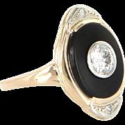 Vintage Art Deco Diamond Onyx Navette Ring 14 Karat Gold Estate Fine Jewelry Heirloom