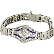 Vintage Art Deco 14 Karat Gold 900 Platinum Diamond Sapphire Filigree Bracelet Estate