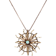 Vintage Art Deco Opal Sunburst Pendant 14 Karat Rose Gold Estate Heirloom Jewelry