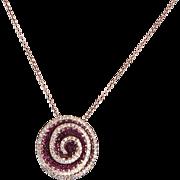 Effy Diamond Ruby 14 Karat Rose Gold Flower Pendant & Necklace Estate Fine Jewelry