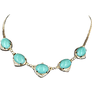 Egg Shell Blue Turquoise Diamond Vintage Necklace 14 Karat Gold Estate Jewelry Fine