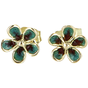 Small Green Enamel Vintage Flower Stud Earrings 14 Karat Yellow Gold Estate Jewelry