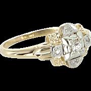 Vintage Deco Two Tone 14 Karat Gold Palladium Diamond Ring Estate Jewelry