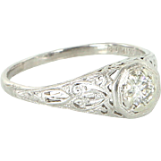Vintage Art Deco Filigree Diamond 900 Platinum Ring Vintage Fine Jewelry Heirloom