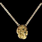 Antique Art Nouveau Portrait of a Woman Necklace 14 Karat Gold Vintage Jewelry