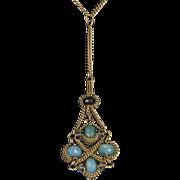 Anthony Nak Drop Necklace 18 Karat Gold Citrine Chalcedony Estate Designer Jewelry