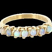 Opal Stack Band Ring Sz 7.25 Vintage 14 Karat Yellow Gold Estate Fine Jewelry