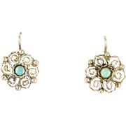 Opal Filigree Round Earrings Vintage 10 Karat Yellow Gold Estate Fine Jewelry