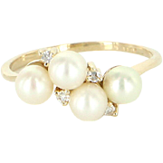 Small Pinky Ring Vintage Diamond Cultured Pearl 14 Karat Yellow Gold