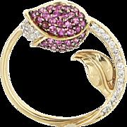 Tulip Flower Pendant Diamond Ruby Vintage 14 Karat Gold Estate Fine Jewelry