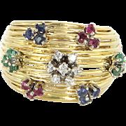 En Tremblant Vintage Flower Ring 14 Karat Gold Diamond Ruby Emerald Sapphire Sz 5