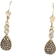 Chocolate Diamond Drop Earrings Vintage 14k Yellow Gold Estate Fine Jewelry