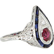 Diamond Sapphire Ruby Antique Art Deco Filigree Ring Vintage 14 Karat White Gold